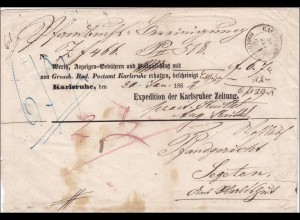 Baden: 1862: Anzeigen Gebühren von Carlsruhe für Krakauer Zeitung