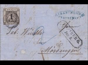 Baden: 1860: Brief mit MiNr. 5 von Freiburg nach Münsingen
