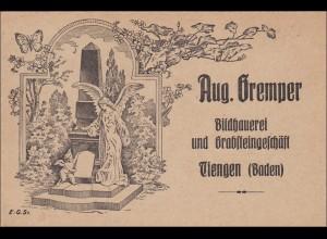 Baden: Ansichtskarte Bildhauerei Grabsteingeschäft Tiengen (Baden): AUFKLAPPBAR