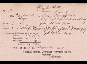 Bayern: Einlieferungsbescheinigung Sendung von Untersteinach nach Nürnberg 1847
