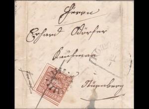 Bayern: Briefumschlag 1852, STEMPEL 292 nach Nürnberg