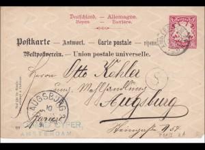 Bayern: 1905: Antwortkarte von Amsterdam nach Augsburg
