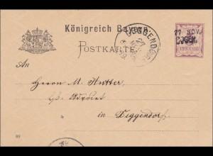 Bayern: 1889: Ganzsache von Bogen nach Deggendorf