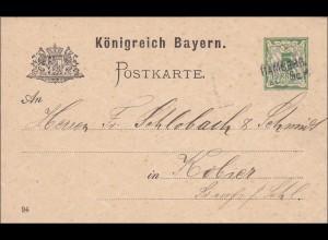 Bayern: 1896: Ganzsache von Bamberg nach Kobier