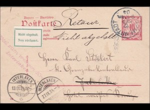 Bayern: 1904: Postkarte von Immenstadt nach Interlagen und zurück