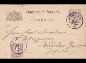 Bayern: 1888: Ganzsache von Lindau nach Uddheden-Grasmark