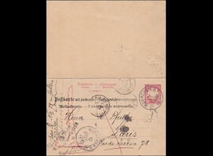 Bayern: 1896: Ganzsache mit Antwortkarte von München nach Paris: Retour