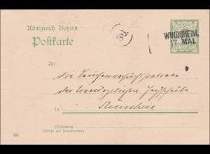 Bayern: 1916: Ganzsache von Windsheim nach München