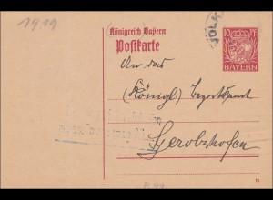 Bayern: 1919: Ganzsache von Rimbach nach Gerolzhofen, P99