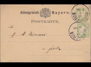 Bayern: 1907: Ganzsache mit Zusatfrankatur von Nürnberg II nach Fürth