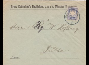 Bayern: 1900: Brief von MÜnchen 8 nach Fulda
