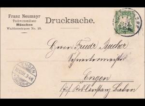 Bayern: 1901: Drucksachenkarte von München nach Engen - Tuchversandhaus