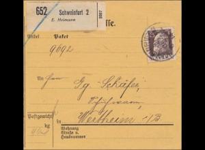Bayern: 1914: Paketkarte von Schweinfurt 2 nach Wertheim