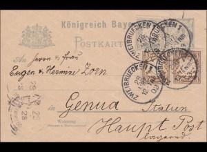 Bayern: 1903: Ganzsche von Zweibrücken nach Genua