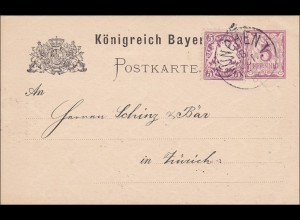 Bayern: 1884: Ganzsache aus München nach Zürich