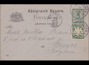 Bayern: 1898: Ganzsache mit Antwortkarte von München nach Bruges in Belgien
