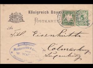 Bayern: 1898: Ganzsache von Kaiserslautern nach Colmarburg