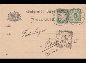 Bayern: 1899: Ganzsache von München 31 nach Rom