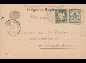 Bayern: 1898: Ansichtskarte aus Nürnberg nach Amsterdam