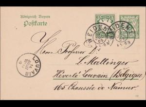 Bayern: 1909: Ganzsache von Weiden nach Louvain Belgien
