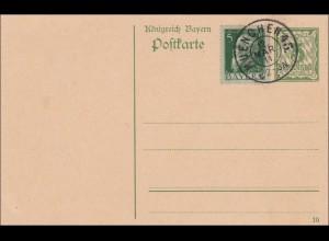Bayern: 1911: Ganzsache mit Zusatzfrankatur und Stempel München 45