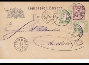 Bayern: 1883: Ganzsache von Fürth nach Stockholm