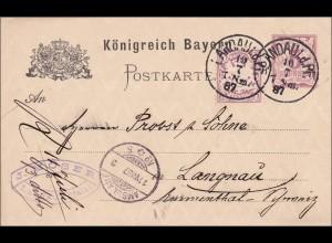 Bayern: 1887: Ganzsache von Landau i.d.Pf. nach Langenau