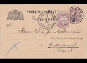 Bayern: 1886: Ganzsache München II nach Constantinopel