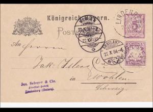 Bayern: 1884: Ganzsache von Lindenberg in die Schweiz (Strohhut Fabrik)