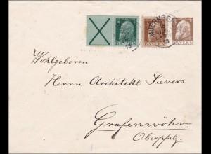 Bayern: 1913: Brief von Nürnberg nach Grafenwöhr. TOP FRANKATUR