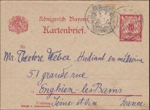 Bayern: 1900: Ganzsachenumschlag/Kartenbrief von Obernzell nach Frankreich