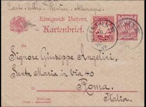 Bayern: 1897: Kartenbrief von München II nach Rom