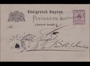 Bayern: Ganzsache Antwort von Bad Oberdorf nach Fürth