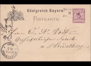 Bayern: Ganzsache 1885 nach Heidelberg mit Stempel Frankfurt-Strassburg !!!