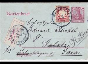 Bayern: Ganzsache 1903 von München nach Gara - Unbekannt zurück