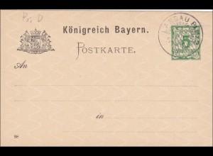Bayern: Ganzsache 1898, gestempelt in Landau/Pfalz mit Wz