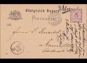 Bayern: Ganzsache 1890 von Neu Ulm nach Cannstatt