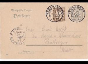 Bayern: Ganzsache 1905 von Regensburg nach Reutlingen (Württ.)