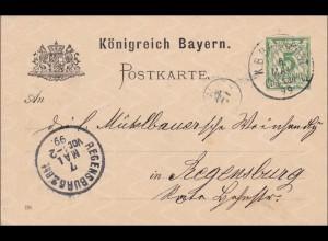 Bayern: Ganzsache 1899 nach Regensburg