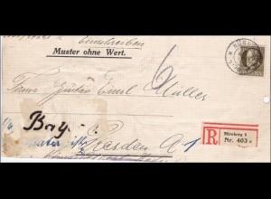 Bayern: Brief 1914 von Nürnberg nach Dresden, MiNr. 100 I