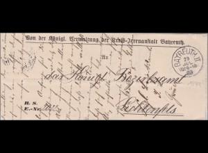 Bayern: Schreiben der Kreis-Irrenanstalt Bayreuth nach Lichtenfels 1888