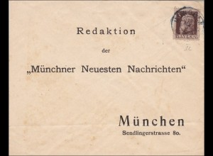 Bayern: Brief mit MiNr. 76 Ic, rückseitig signiert