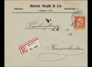 Bayern: 1911, Brief von München nach Kaiserslautern - Postauftrag