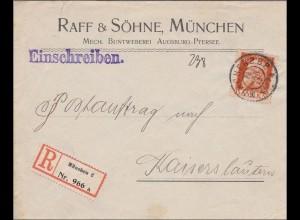 Bayern: 1913, Einschreiben-Brief von München nach Kaiserslautern