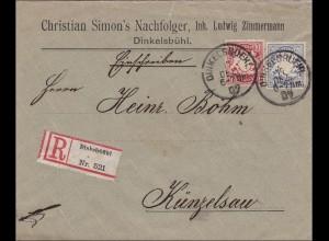 Bayern: 1907: Einschreiben von Dinkelsbühl nach Künzelsau