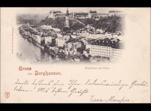 Bayern: 1898, Ansichtskarte: Gruss aus Burghausen - nach Wanghausen
