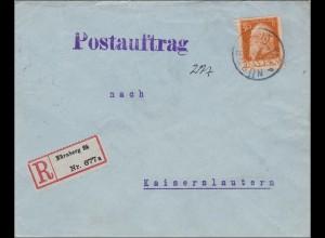 Bayern: 1912_ Postauftrag von Nürnberg nach Kaiserslautern
