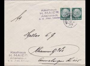 Bayern: Brief von Altenstadt nach Chemnitz - alter Reservestempel