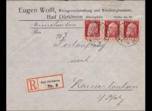 Bayern: 1911: Brief Weingrosshandlung Bad Dürkheim nach Kaiserslautern