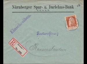 Bayern: Postauftrag Einschreiben: Nürnberg 1912 nach Kaiserslautern